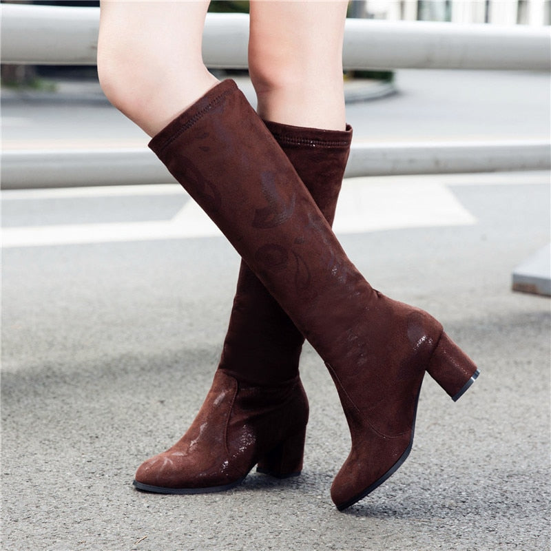 Knee High Boots Women Fashion Velvet Red Black Long Boots Autumn Winter Women's High Boots Zipper
