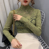 Lace Female Long Sleeve 2020 Spring New Stand Neck Women Tops Sexy transparent Lace Mesh Hollow Flower Camisas Mujer 973H