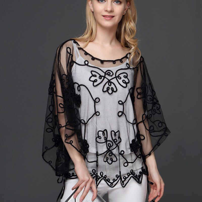 Ladies White black Blusas Women Chiffon Half sleeve New Summer Lace Tops Blouse hollow out Women shirt Feminine clothing 803J