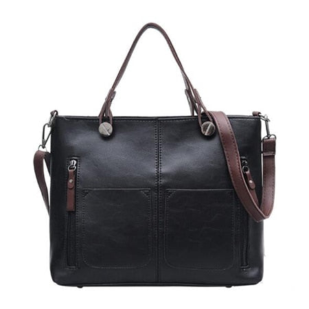 Lady Top-handle Bags Vintage Handbags Women Casual Big Shoulder Bag Tote for Girls Pocket Outside Crossbody Bags Tote Bags