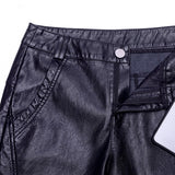 Leather pants female Harlan Pants 2020 New Spring Korean high waist Loose Nine small feet Pants Pu female wide leg pants 554G