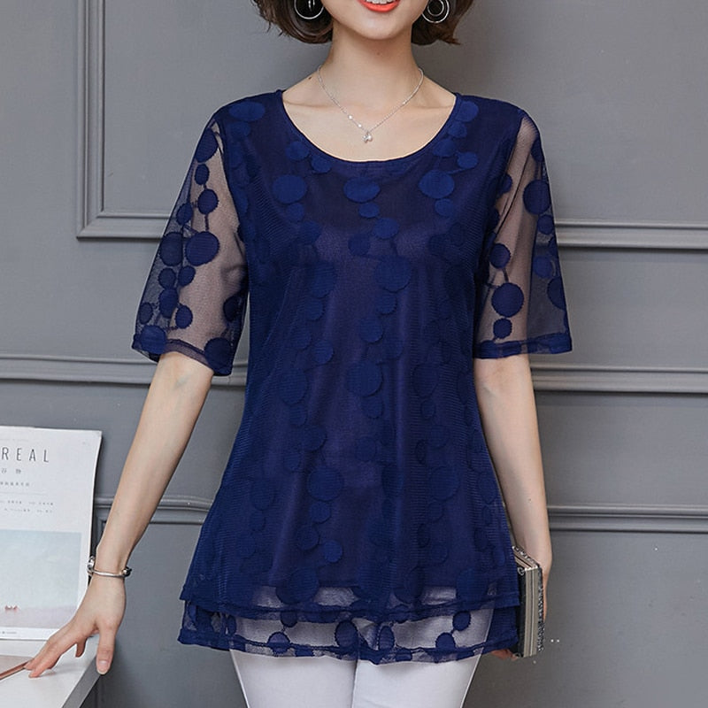 Long Lace shirt Plus Size L-5xl Dot Women Short Sleeve Blouse shirts Chiffon Women Tops Mesh Transparent Feminine Blusa 911i