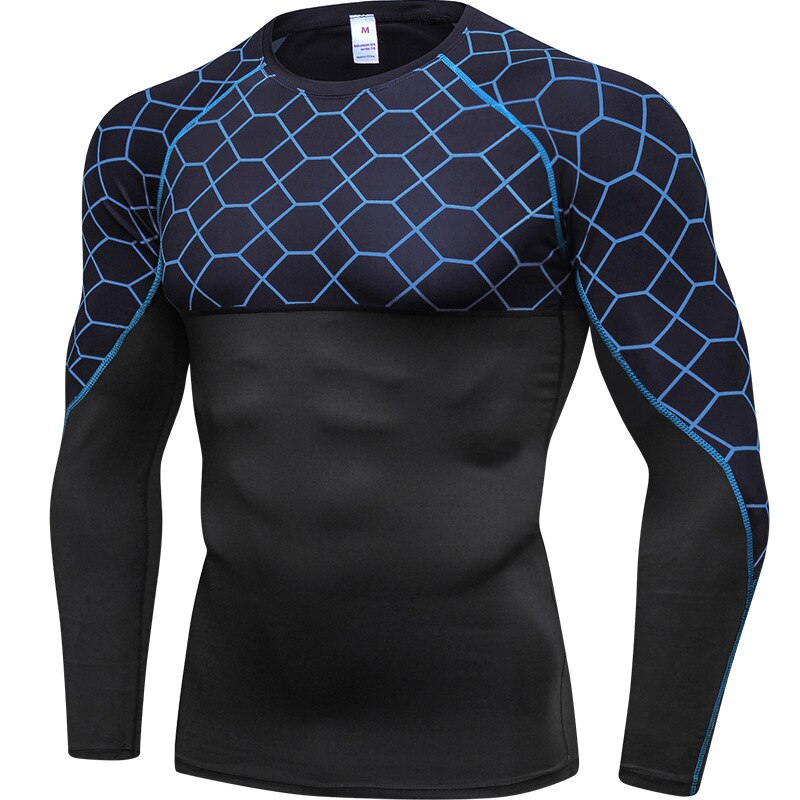 Long Sleeve T-shirts Men Quick dry Tights Fitness Running T shirts Solid Compression Gym Sport Top Tee Clothing Men's Sportswear
