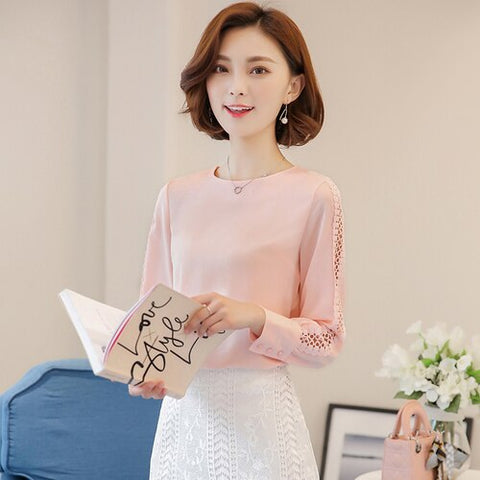 Long Sleeve blusas mujer de moda 2020 Ladies Office Shirts Korean Lace Hollow Out Women Top White Chiffon Blouses Shirts 821F