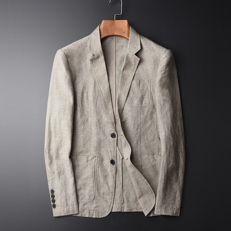 Blazer Man Linen Suit Jacket Spring Autumn Casual Male