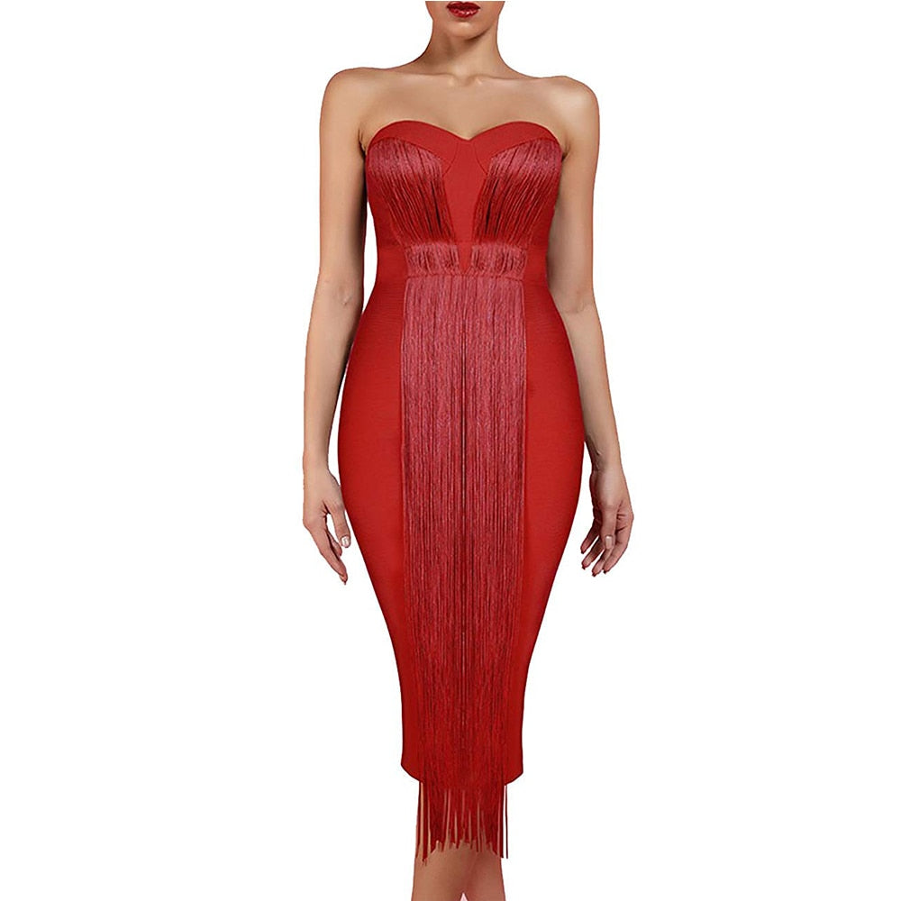 New Summer Bandage Dress Women Nude Strapless Sleeveless Bandage Dress Over Knee Tassels Party Bandage Dress