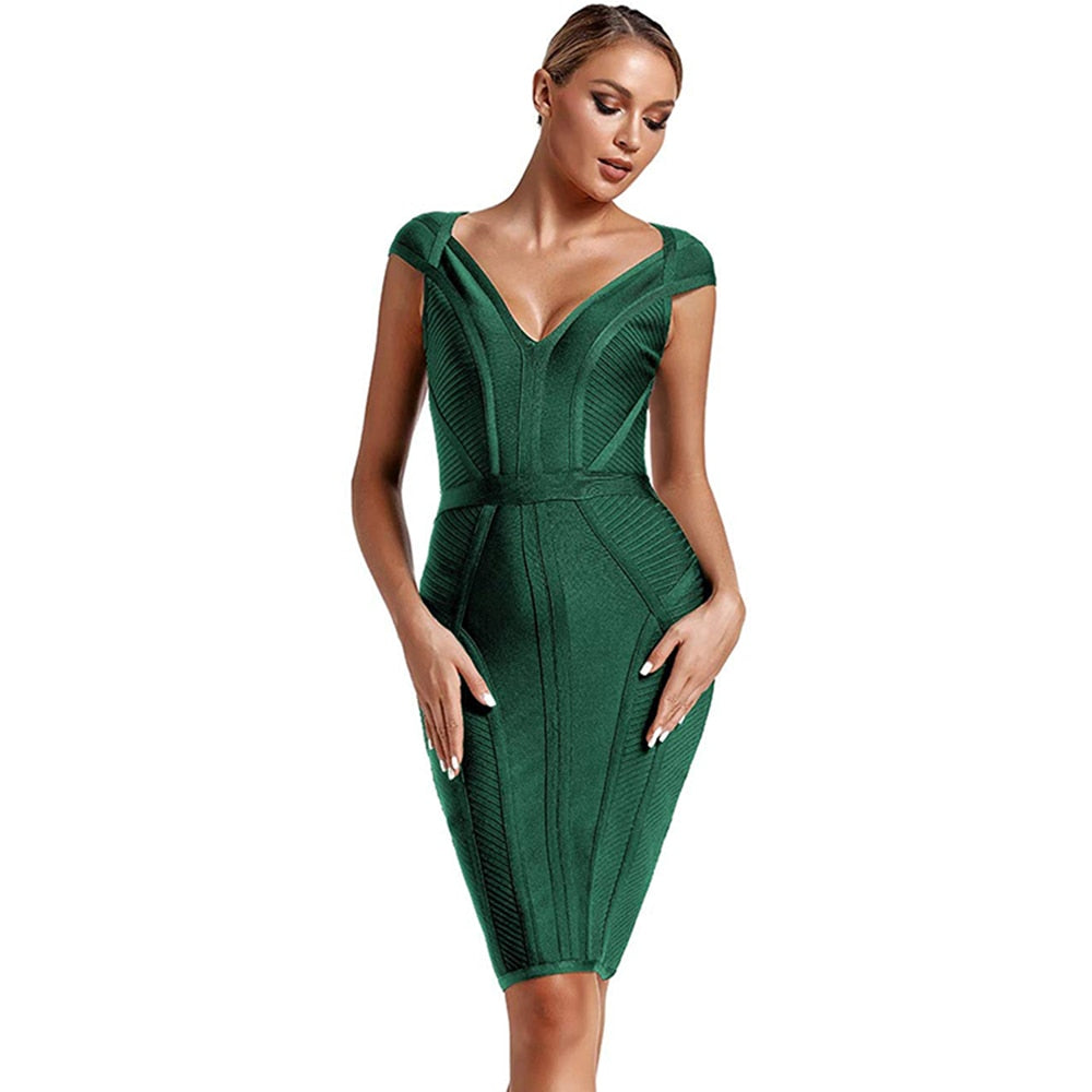 2020 New Summer Bandage Dress Women Sexy V Neck Green Bandage Dress Striped Bodycon Evening Party Bandage Dress