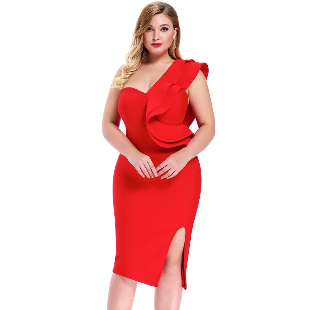 2020 Women One Shoulder Plus Size Bandage Dress Elegant Red V Neck Bandage Dress Sexy Party Plus Size Bodycon Dress
