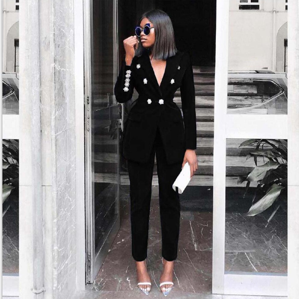 2020 Summer Sets for Women 2019 New Navy Blue V Neck Long Sleeve Sexy 2 Piece Set Outfits High Quality Two Piece Set Suit