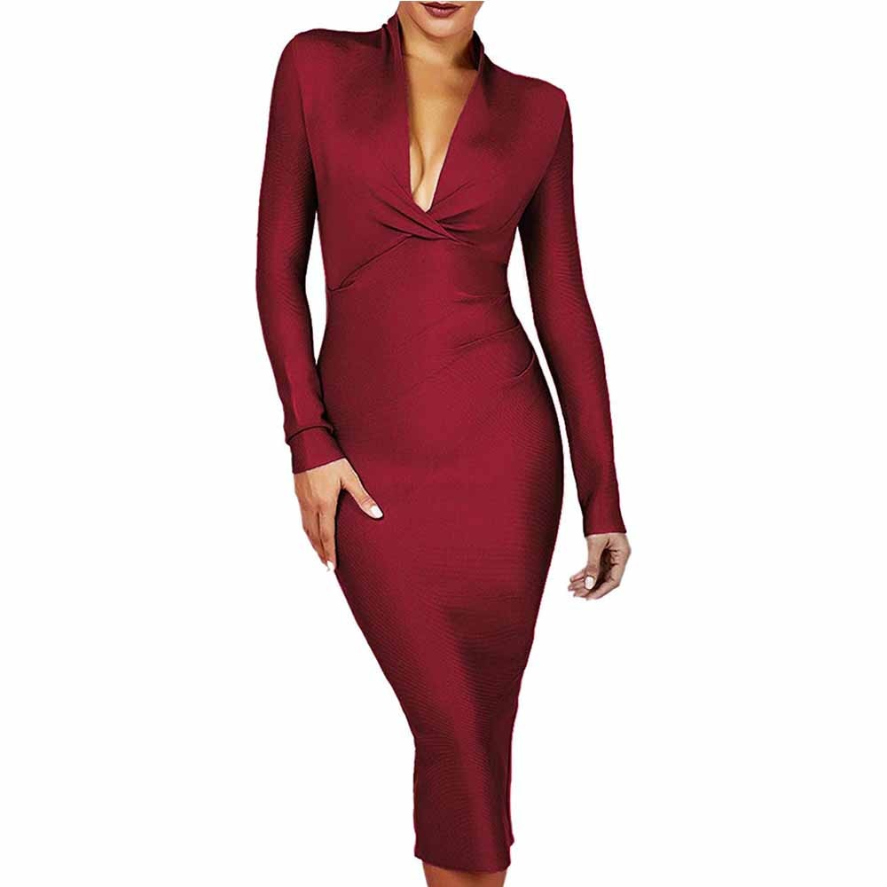 2020 Summer Sexy Rayon Bandage Dress 2019 New Arrivals Brown V Neck Long Sleeve Over Knee Plain Celebrity Bandage Dress