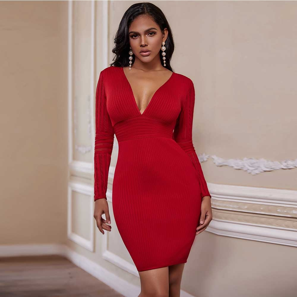 2020 Summer New Sexy Red Deep V Neck Bandage Dress Women Long Sleeve Mini Bodycon Bandage Dress Party Dresses