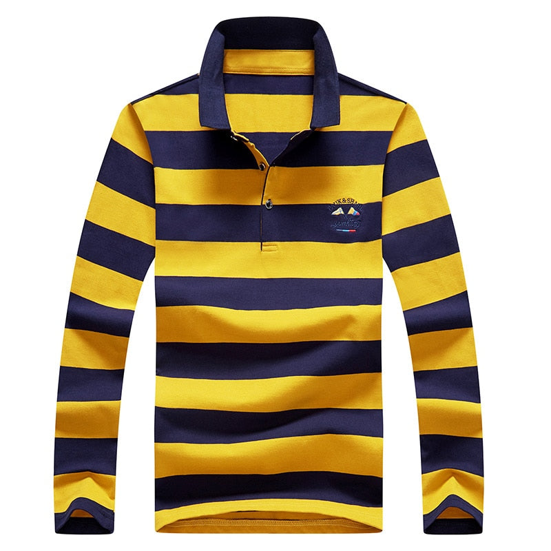 Men Polo Shirt Long Sleeve Shirt 2020 Spring Autumn Cotton Embroidery Warm Casual Fashion Stripe Polo Shirt Men