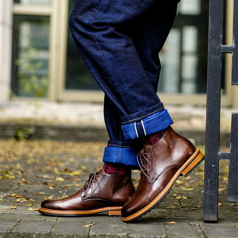 Men Winter Boots Genuine Calf Leather Chelsea Boots Brogue Formal Business Ankle Flat Shoes Quality Lace up Dress Boots 2020
