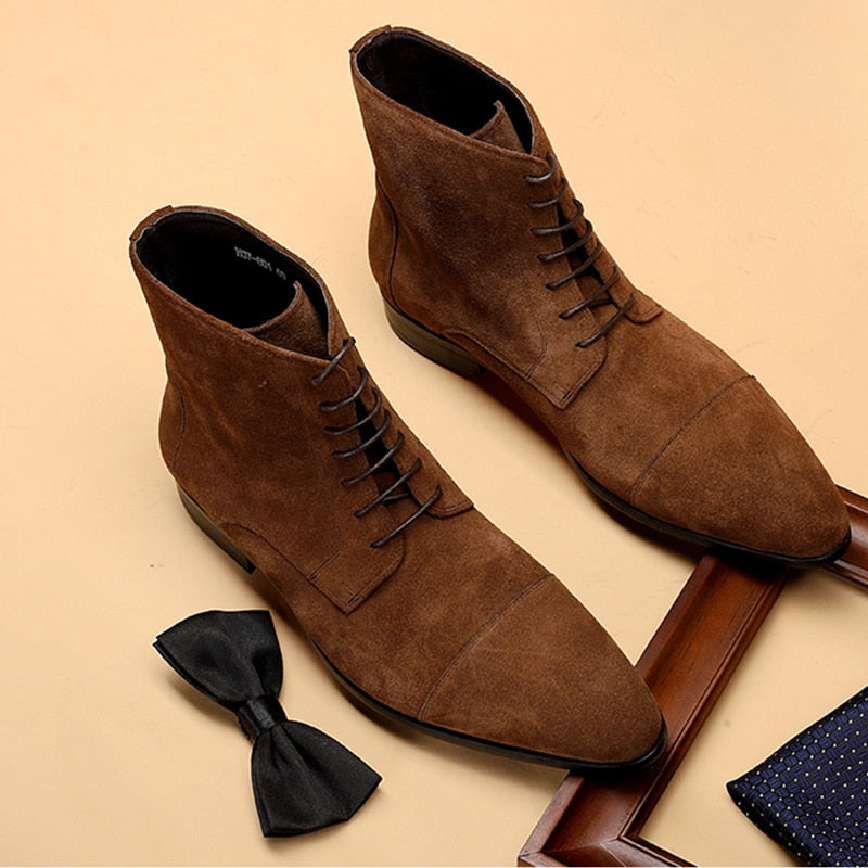 2020 Men Winter Boots Genuine Leather Suede Chelsea Boots Brogue Casual Ankle Flat Shoes Comfortable Quality Slipon Dress Boots