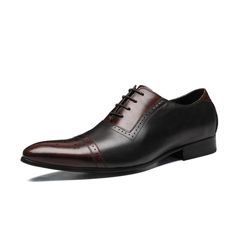 Men leather shoes business dress suit shoes men Luxury brand Bullock genuine leather black laces wedding shoes