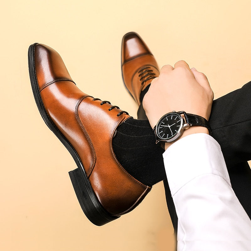 Men leather shoes business dress suit shoes men brand Bullock genuine leather black laces wedding mens shoes Phenkang 2020
