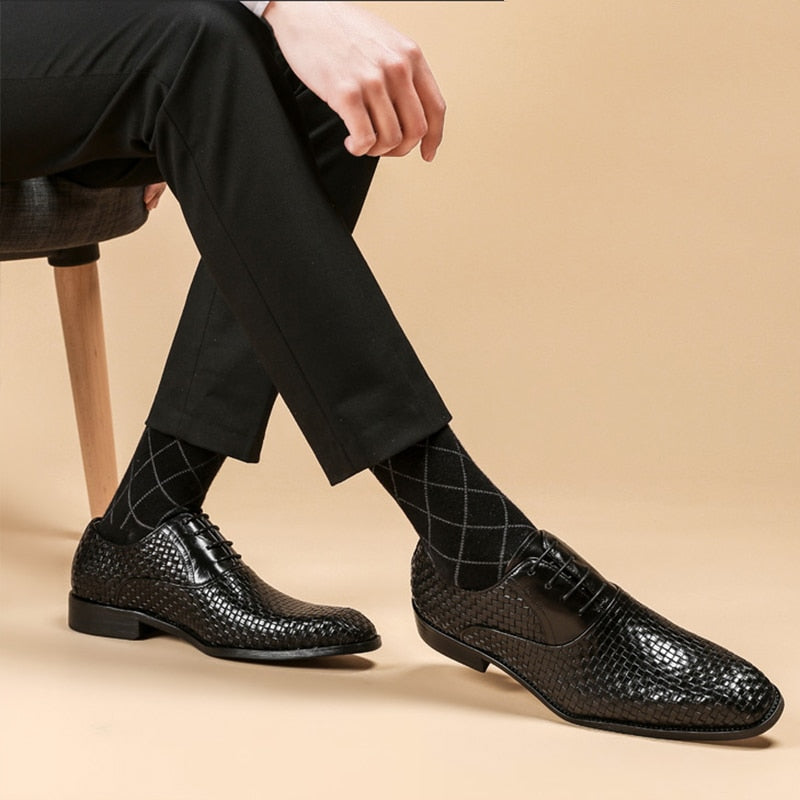 Men leather shoes business dress suit shoes men brand Bullock genuine leather black laces wedding mens shoes 2020
