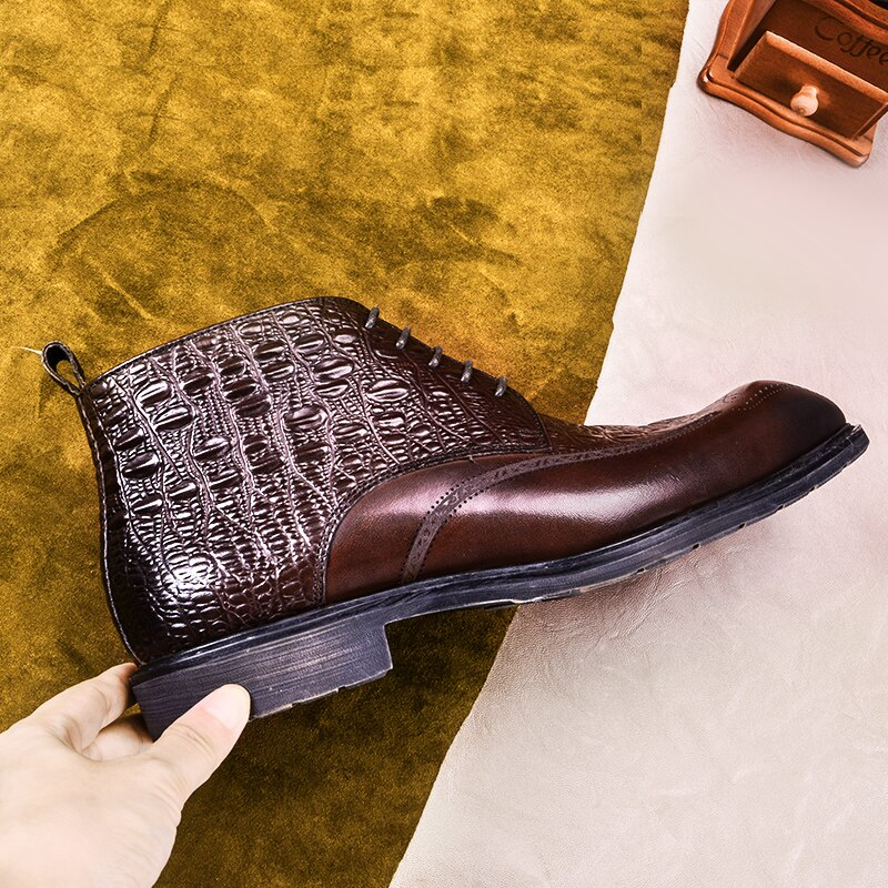 2020 Men winter Boots Genuine cow leather chelsea boots brogue casual ankle flat shoes Comfortable quality lace up dress boots 2020