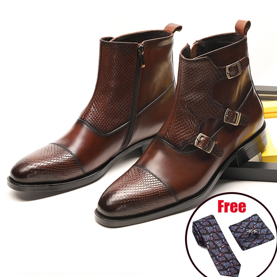 Men winter Boots Genuine cow leather chelsea boots brogue casual ankle flat shoes Comfortable quality soft handmade black 2020