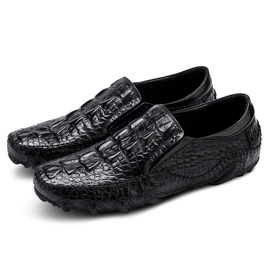 Mens Casual Shoes Genuine Leather Men Crocodile Silp on Sneakers Driving Coffee Soft Daily Pea Summer shoes male black 2020