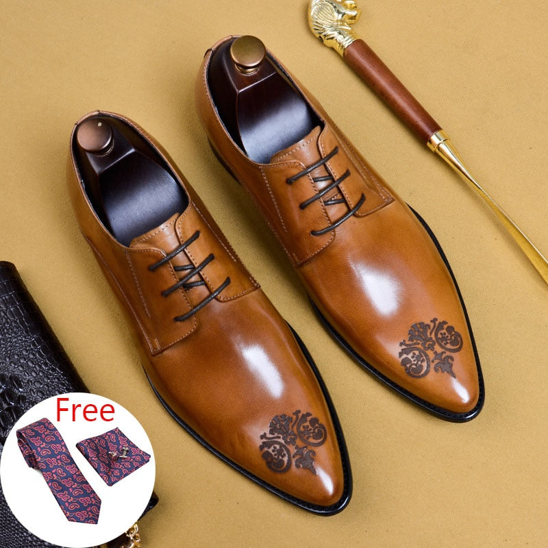 Mens formal shoes Genuine leather oxford shoes for men dressing wedding men's brogues office shoes lace up male men shoes 2020
