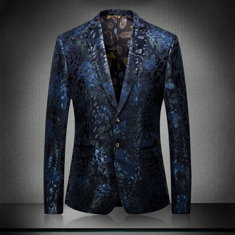 Velvet Mens Blazer Luxury All Printed Fashion Party Wedding Man Blazer