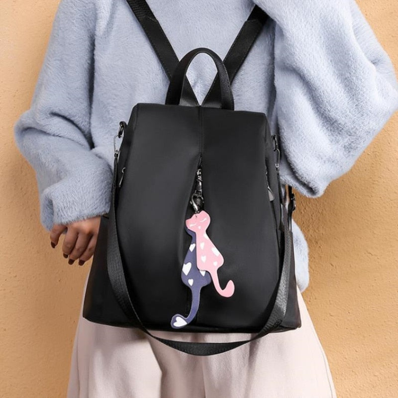 Multi-use Nylon Backpack Solid Color Large Daypack for Female Bagpack with Cat Pendant Women Simple Travel Shoulder Bags Pack