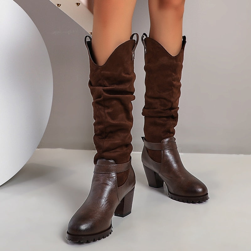 New 2020 Autumn Knee High Boots Women Shoes Sexy Fashion Western Riding Boots Women Buckle Block Heels Long Shoes