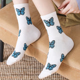 New Butterfly Socks Women Streetwear Harajuku Crew Kawaii Stripe Fashion Ankle Funny Pop Socket Cotton Embroidered Expression