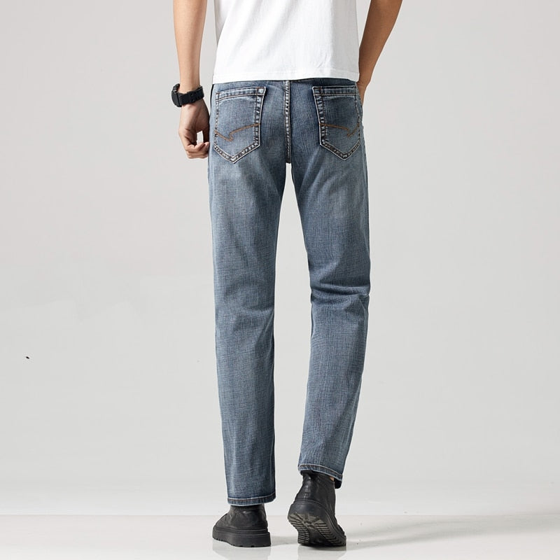New Jeans Men Straight Fit Stretch Anti-theft Zipper Denim Pants Trousers Casual Cowboys Man Jean
