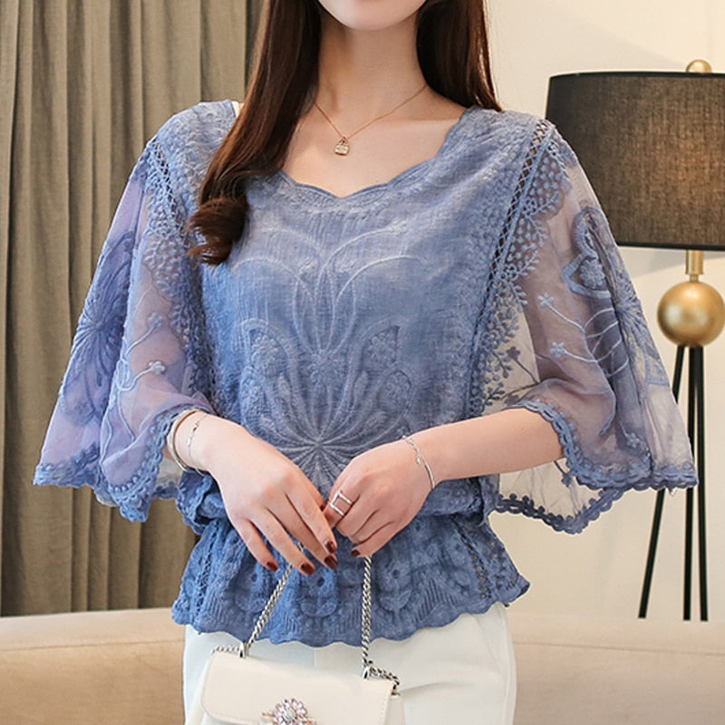 New Loose Blouse O-Neck 2020 Summer Full Cotton Edge Lace Blouses Shirt Butterfly Flower Half Sleeve Women Shirt Fashion 86F