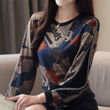 New Printed Plus Size Tops Female Casual  Fashion Chiffon Lantern Long sleeve Women Blouse Stand Neck Camisas Mujer Blusa 951i