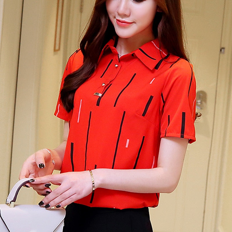 New Korean Summer 2020 Flower Print Women Tops Turn Down Collar tops Button Down Striped Blouse Shirt Casual Cotton Blouses Shirts 801F