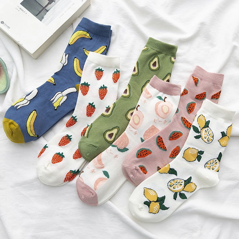 New Summer Cartoon Fruit Cotton Watermelon Lemon Strawberry Banana Avocado Women Korean Version Fashion Street Socks