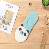 New Women Candy Color Sock Small Animal Cartoon Short 100% Cotton Boat Socks Breathable Casual Ladies Funny Sock Panda Bear