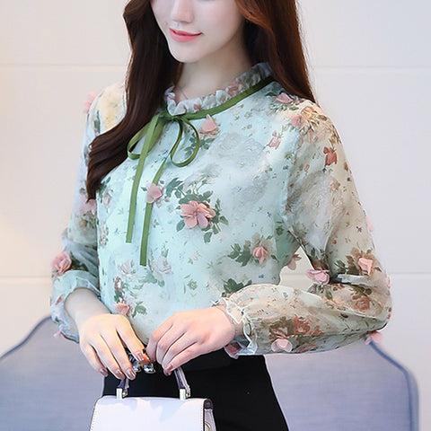 New women blouse shirt fashion 2020 long sleeve sweet print women's clothing applique ruffled neck feminine tops blusas 358F