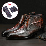 Men Full Grain Cow leather Crocodile Texture Ankle Chelsea Boots Brogue Casual Ankle Flat Lace up Dress boots 2020