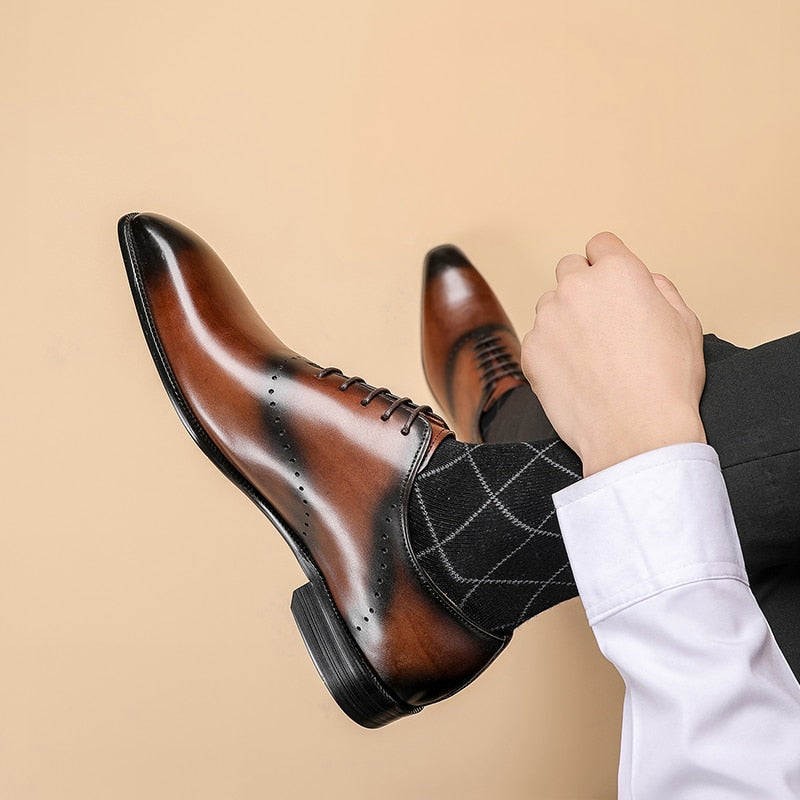 Men Genuine Italian Wingtips Leather Shoes Pointed Toe Lace-Up Oxfords Dress Brogues Wedding Party Business Shoes