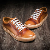 Men Genuine Leather Brogue Sneakers Handcrafted Men's Casual Loafers Lace up Autumn Outdoor Driving Shoes 2020