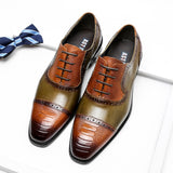 Men Genuine Leather Snake Pattern Shoes Pointed Toe Lace-Up Oxford Dress Brogues Italian Brand Wedding Platform Shoes