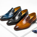 Men Italian Genuine Leather Penny Loafers Mens Pointed Toe Slip on Oxfords Dress Wedding Brown Blue Casual Shoes