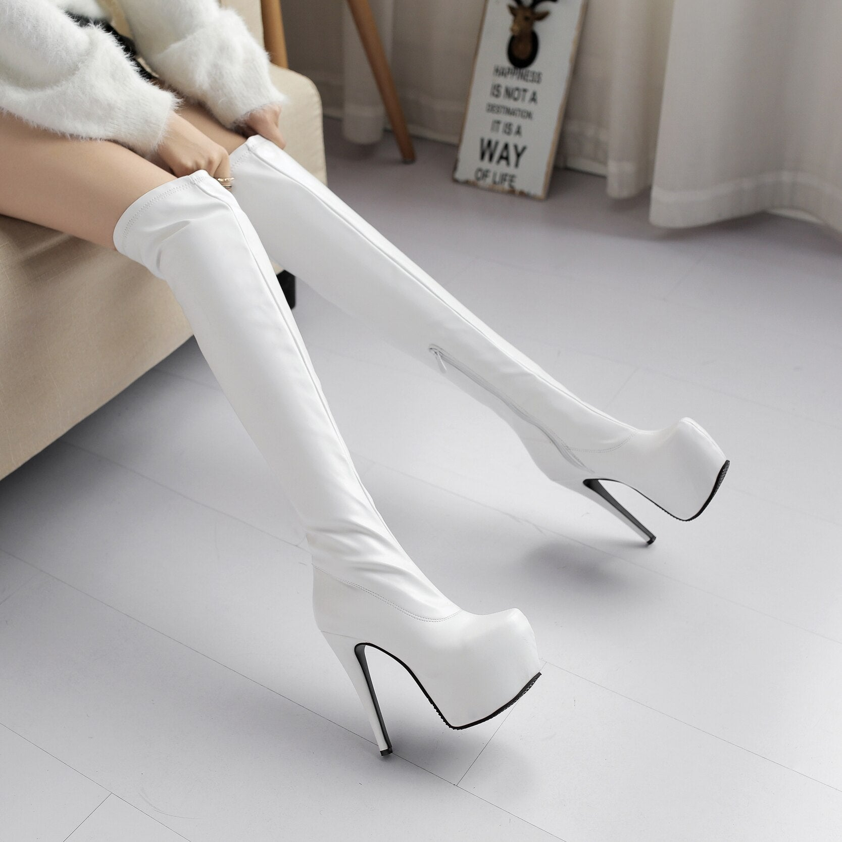 Stretch Slim Thigh High Boots Women 2019 Winter Sexy Over the Knee Boots High Heels Platform Party Evening Shoes
