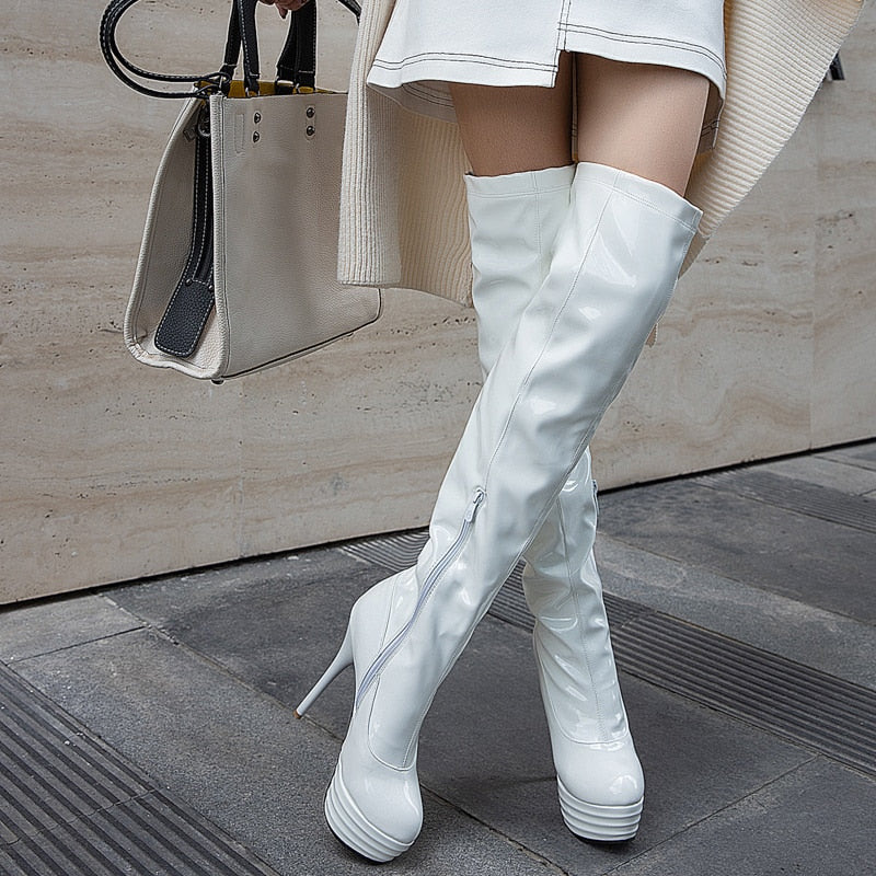 Fashion Over The Knee Boots Women Sexy Platform High Heels Boots Black Red White Nightclub Party Fetish Shoes Lady