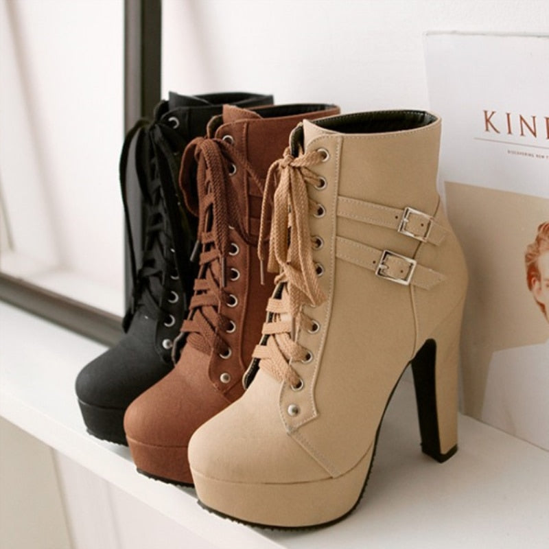 2020 Fashion Women Ankle Boots High Heels Platform Motorcycle Boots Fashion Buckle Lace-up Brown Ladies Shoes