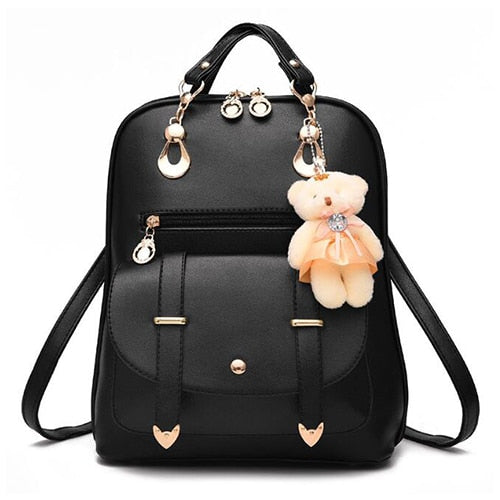 New Women Backpack Bear Toys PU Leather Schoolbags for Teenage Girls Female Rucksack Shoulder Bag Travel Knapsack
