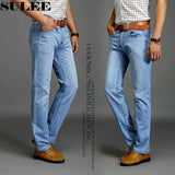 SULEE Brand 2019 New Fashion Men's Casual Thin And Lightweight  Skinny Jeans Trousers Tight Pants Solid Colors