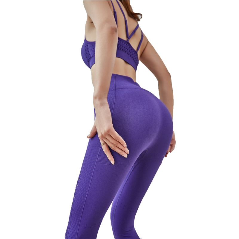 Seamless Yoga Set Women Fitness Wear Gym Set Leggings Padded Push Up Sports Bra 2 Pcs Sportswear Sports Suits Athletic Clothes