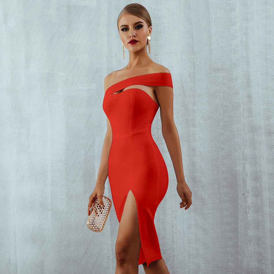 2020 Bandage Dress Sexy White Black Red One Shoulder Bodycon Summer Dress For Women New Celebrity Party Dresses Vestidos