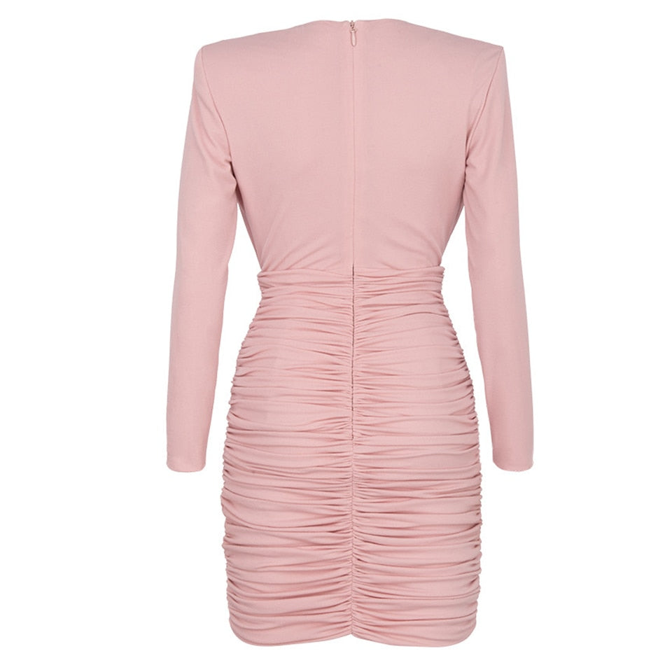 2020 New Summer Long Sleeve Lady Celebrity Party Dress Vestido Sexy Pink Deep V-Neck Pleated Bodycon Club Mini Dress