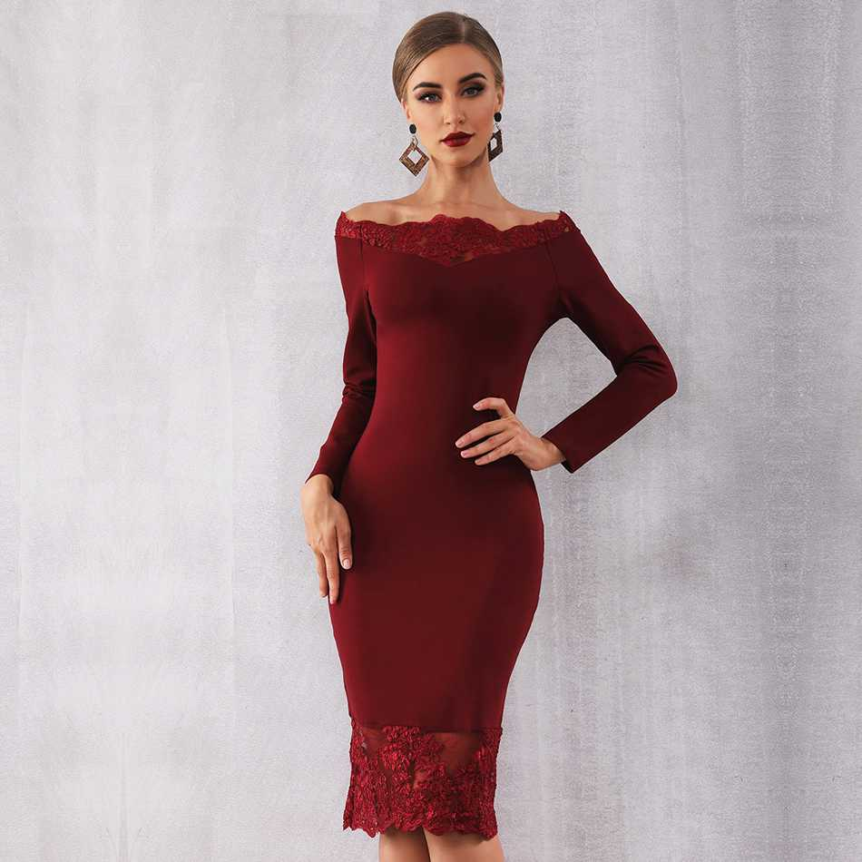 2020 New Women Bandage Dress Vestidos Slash Neck Lace Celebrity Party Dress Sexy Wine Red Black Bodycon Club Dresses